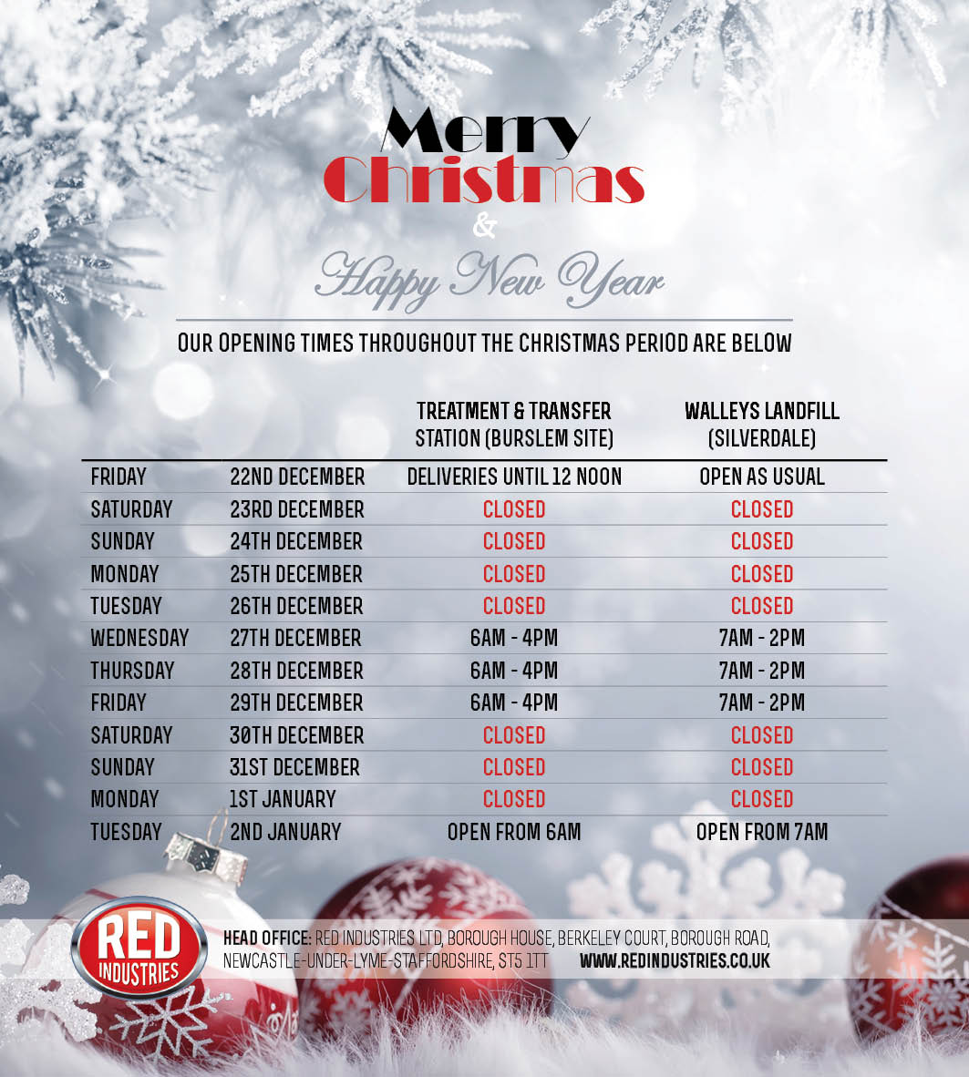 Red Industries Christmas Opening Times 2017