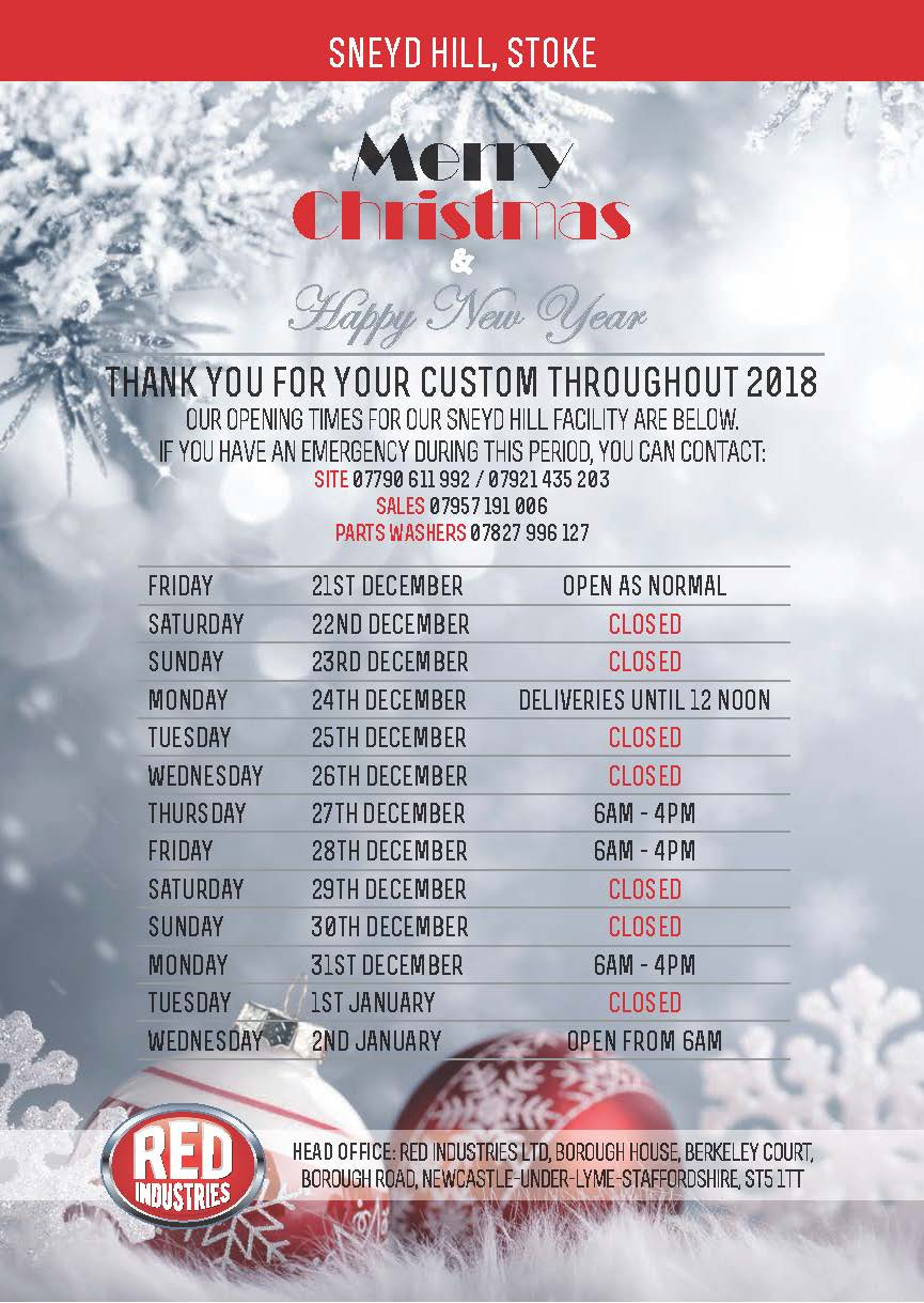 Red Industries Christmas Opening Times Sneyd Hill 2018